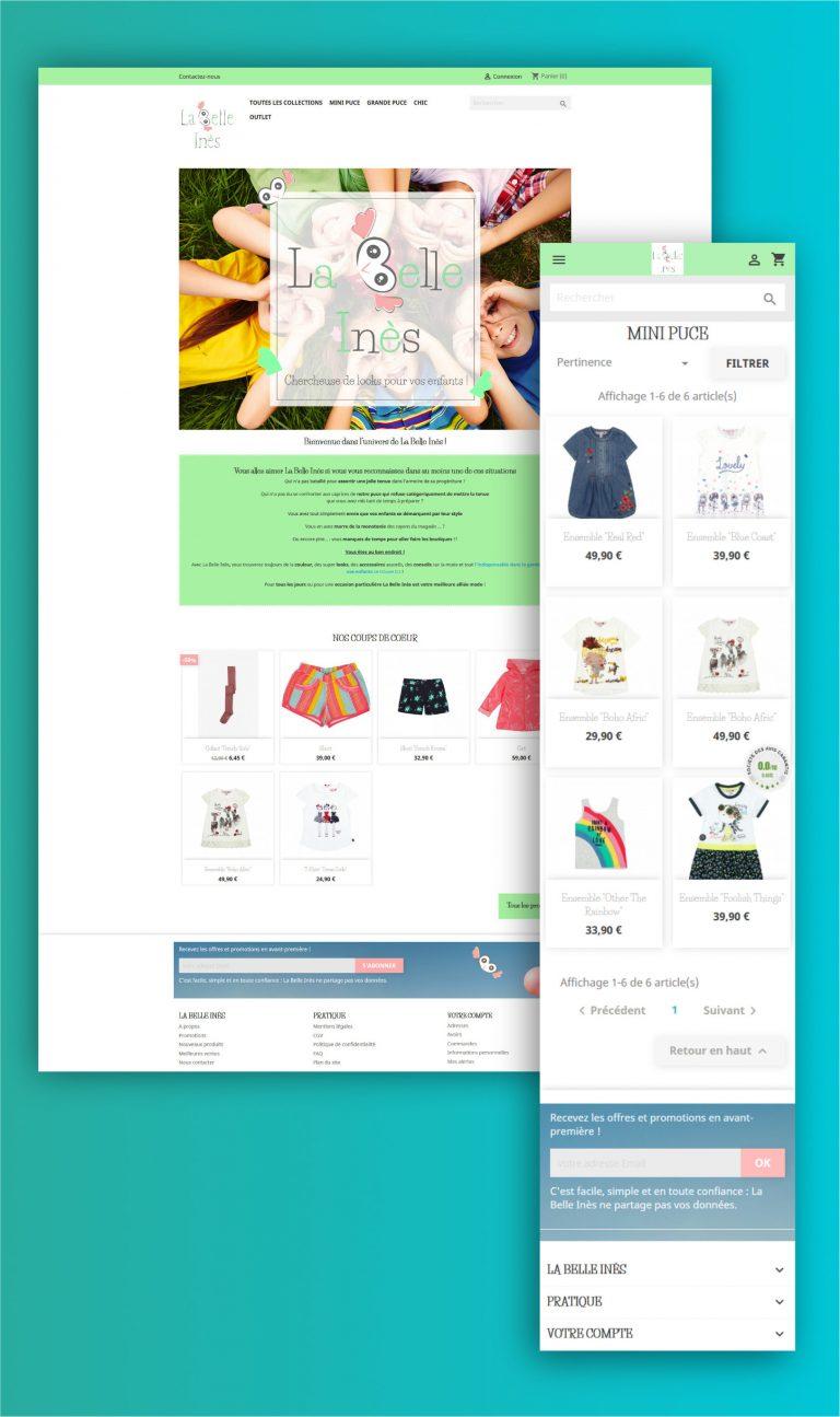 Wawaweb - Pascale Maire - Webdesigner indépendant - boutique en ligne pour La Belle Inès, créatrice de looks pour enfants