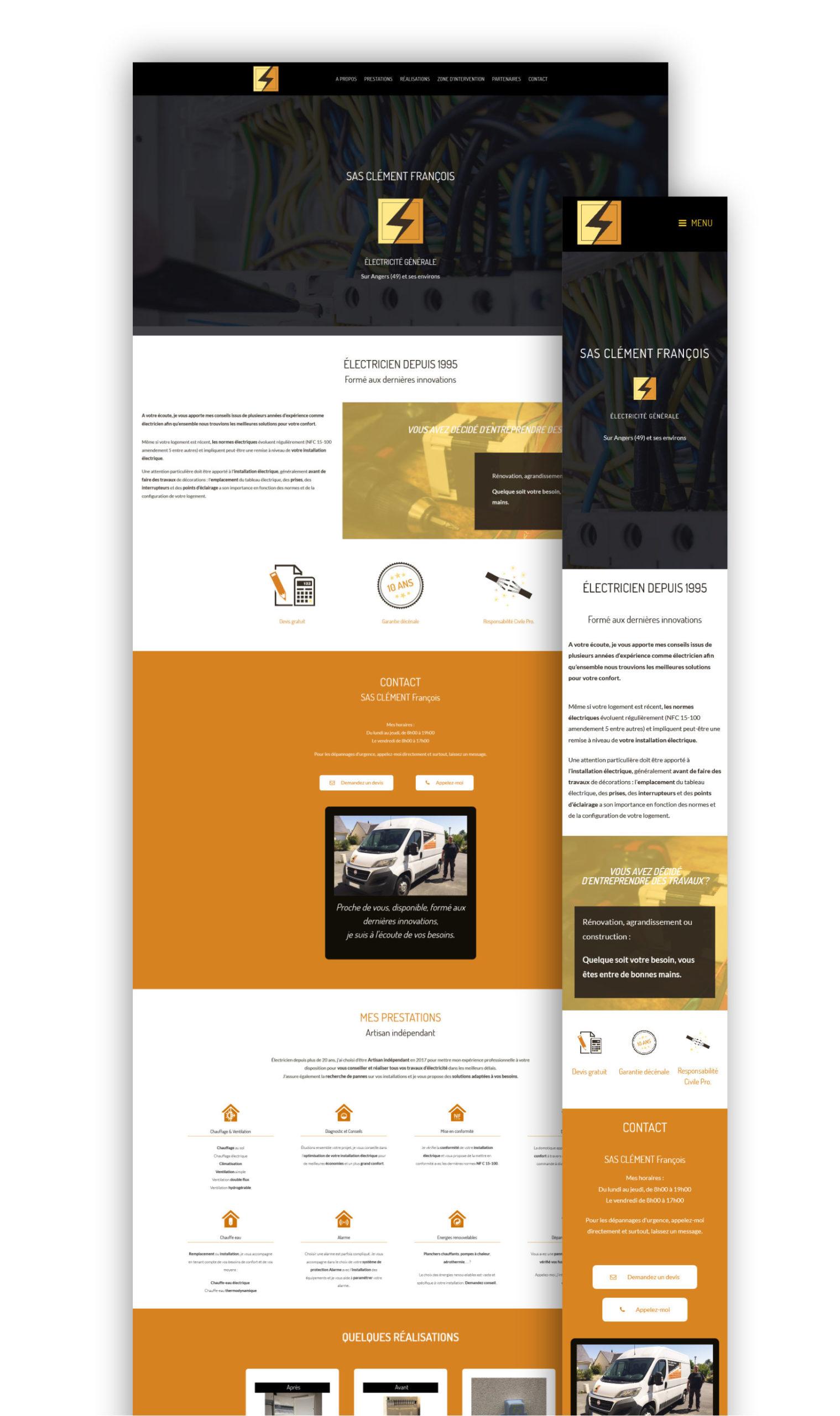 Wawaweb - Pascale Maire - Webdesigner indépendant - boutique en ligne pour François CLEMENT, électricien indépendant à Angers