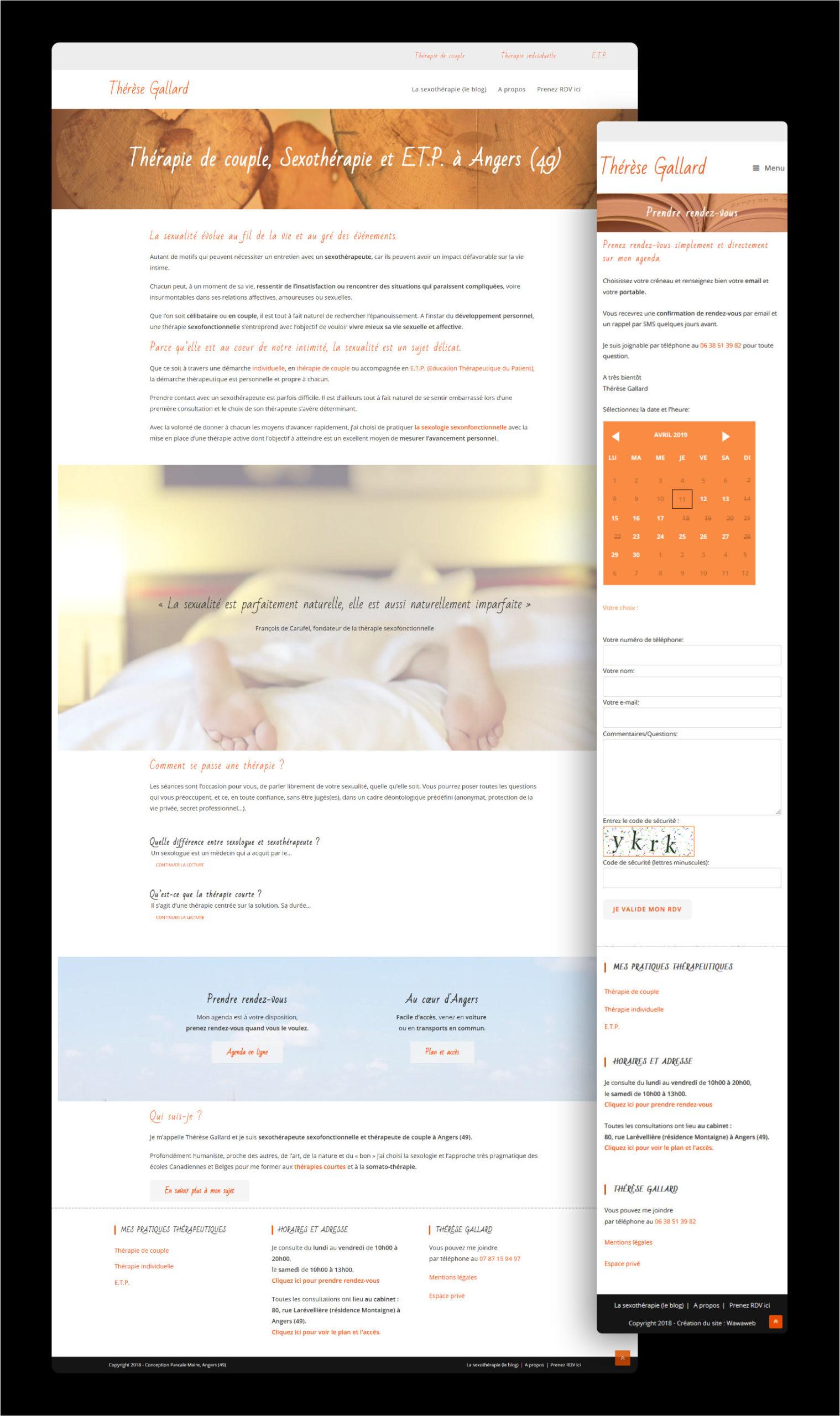 Wawaweb - Pascale Maire - Webdesigner indépendant - boutique en ligne pour Thérèse Gallard, Thérapeute sexonfonctionnelle à Angers
