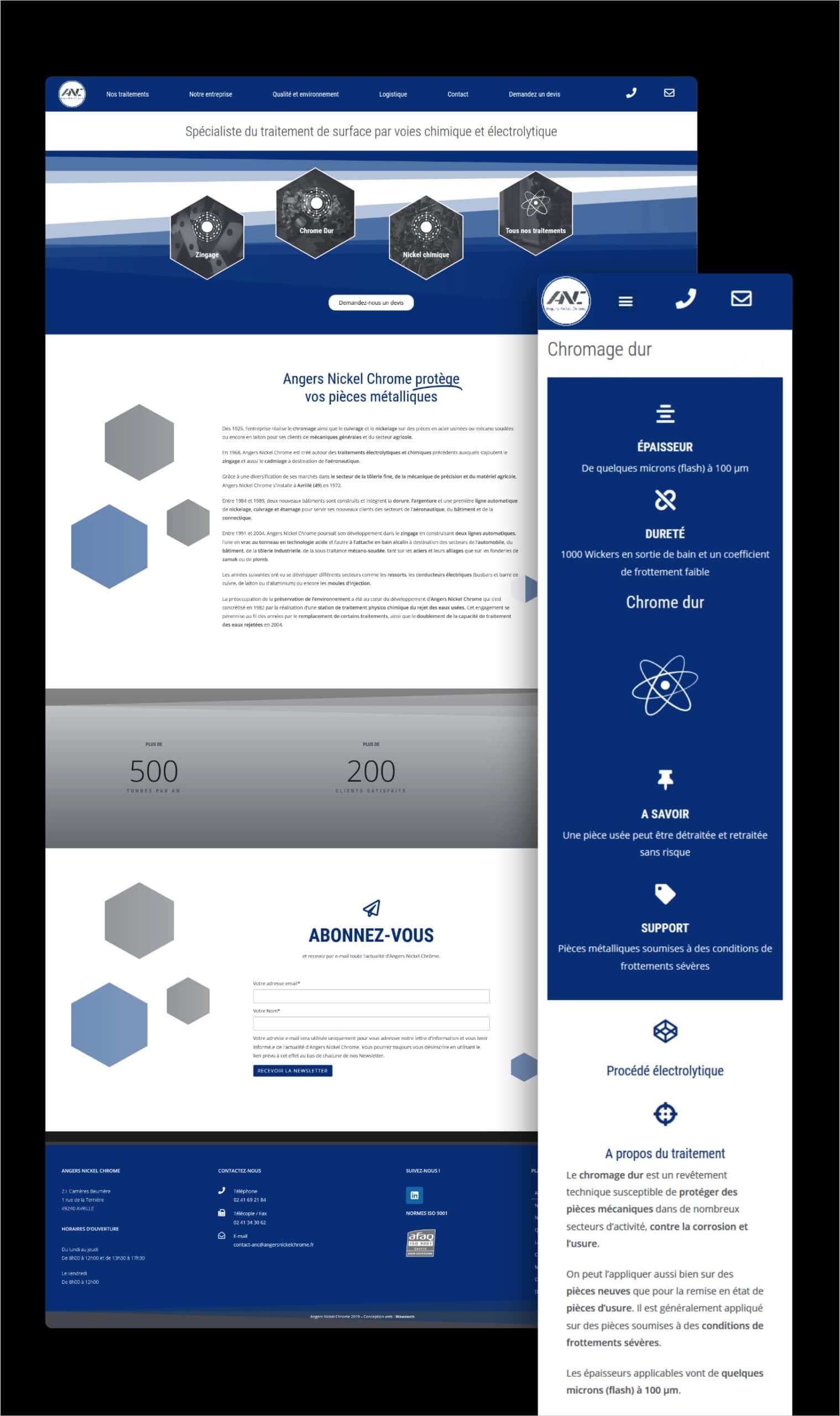Wawaweb - Pascale Maire - Webdesigner indépendant - Création du site vitrine pour l'entreprise Angers Nickel Chrome