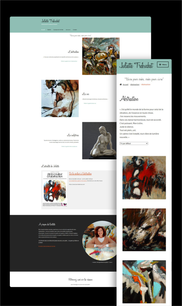 Présentation du site web ultra léger créé par Wawaweb de l'artiste angevine Juliette Trébuchet