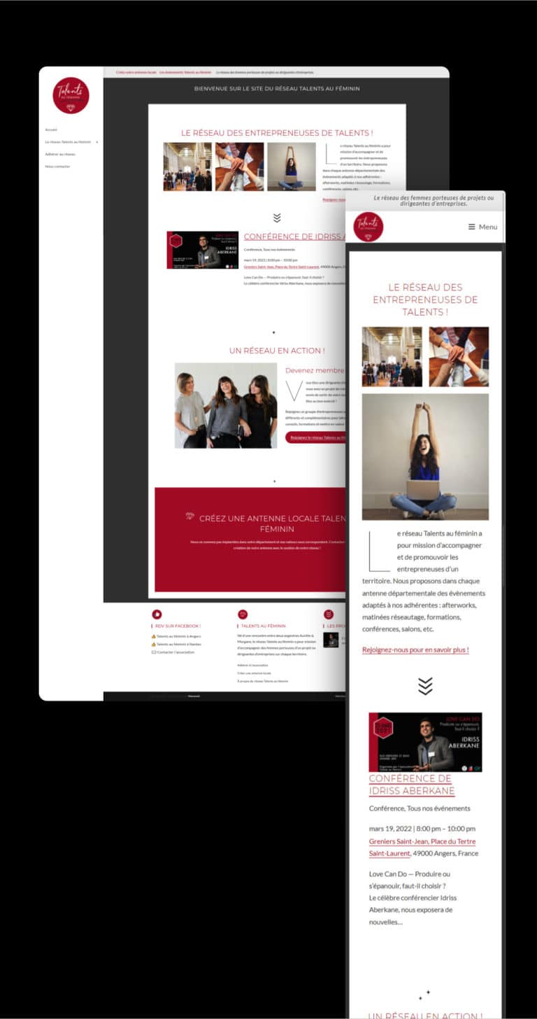 Site vitrine pour le réseau Talents au féminin réalisé par Wawaweb