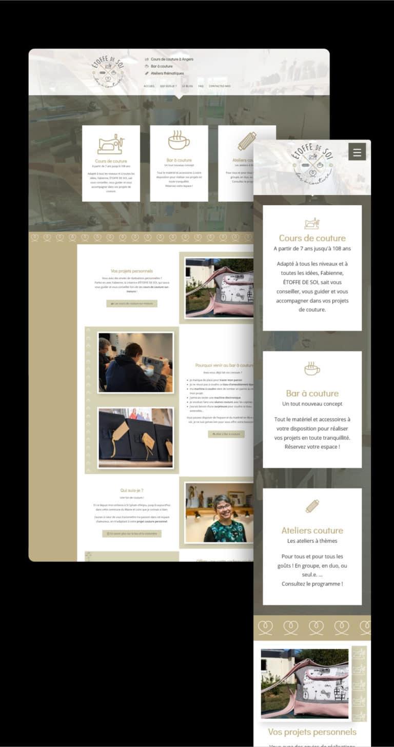 Présentation du site web ultra léger créé par Wawaweb de ETOFFE DE SOI, Bar à couture sur Angers de Fabienne Jouet.